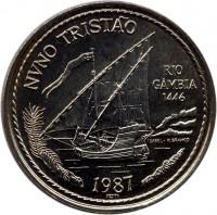 reverse of 100 Escudos - Nuno Tristao (1987) coin with KM# 640 from Portugal. Inscription: NVNO TRISTÃO RIO GÂMBIA 1446 ISABEL · F.BRANCO 1987 incm