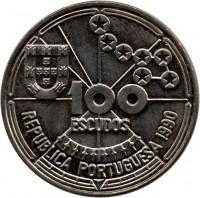 obverse of 100 Escudos - Navigation (1990) coin with KM# 649 from Portugal. Inscription: 100 ESCUDOS REPUBLICA PORTUGUESA 1990