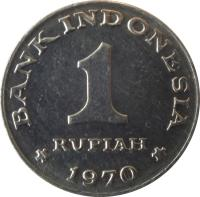 reverse of 1 Rupiah (1970) coin with KM# 20 from Indonesia. Inscription: BANK INDONESIA 1 RUPIAH 1970
