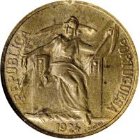 obverse of 50 Centavos (1924 - 1926) coin with KM# 575 from Portugal. Inscription: REPUBLICA PORTUGUESA 1924