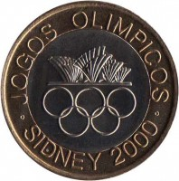 reverse of 200 Escudos - Olympic Games (2000) coin with KM# 726 from Portugal. Inscription: JOGOS OLIMPICOS SIDNEY 2000