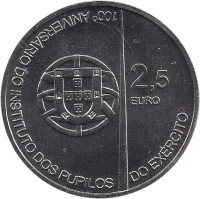 obverse of 2.5 Euro - Army Institute Pupils (2011) coin with KM# 809 from Portugal. Inscription: 2,5 EURO 100° ANIVERSÁRIO DO INSTITUTO DOS PUPILOS DO EXÉRCITO