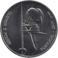 reverse of 2.5 Euro - Army Institute Pupils (2011) coin with KM# 809 from Portugal. Inscription: QUERER É PODER PORTUGAL - 2011 J.V. INCM