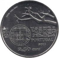 obverse of 2.5 Euro - Capelo & Ivens (2011) coin with KM# 806 from Portugal. Inscription: INCM - BAIBA ŠIME PORTUGAL 2011 2,50 euro