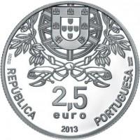 obverse of 2.5 Euro - Portuguese Red Cross (2013) coin with KM# 856 from Portugal. Inscription: REPÚBLICA PORTUGUESA 2,5 euro 2013 INCM BANDEIRA DELGADO