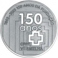 reverse of 2.5 Euro - Portuguese Red Cross (2013) coin with KM# 856 from Portugal. Inscription: 1863-2013 150 ANOS DA FUNDAÇÃO 150 anos CRUZ VERMELHA