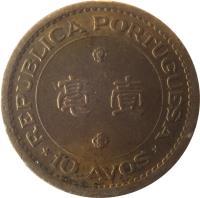 reverse of 10 Avos (1967 - 1976) coin with KM# 2a from Macau. Inscription: REPUBLICA PORTUGUESA *10 AVOS*