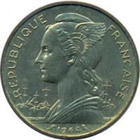 obverse of 20 Francs (1955 - 1964) coin with KM# 11 from Réunion. Inscription: REPUBLIQUE FRANCAISE 1955 L.BAZOR