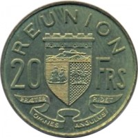 reverse of 20 Francs (1955 - 1964) coin with KM# 11 from Réunion. Inscription: REUNION 20 FRS PRÆTER OMNES ANGULUS RIDET