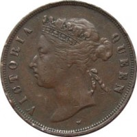 obverse of 1 Cent - Victoria (1872 - 1883) coin with KM# 9 from Straits Settlements. Inscription: VICTORIA QUEEN