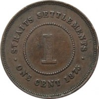 reverse of 1 Cent - Victoria (1872 - 1883) coin with KM# 9 from Straits Settlements. Inscription: · STRAITS SETTLEMENTS · 1 ONE CENT 1883