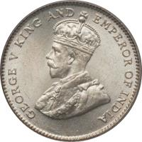 obverse of 10 Cents - George V (1926 - 1927) coin with KM# 29b from Straits Settlements. Inscription: GEORGE V KING AND EMPEROR OF INDIA