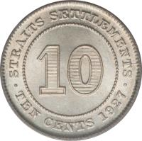 reverse of 10 Cents - George V (1926 - 1927) coin with KM# 29b from Straits Settlements. Inscription: · STRAITS SETTLEMENTS · 10 TEN CENTS 1927