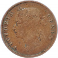 obverse of 1 Cent - Victoria (1887 - 1901) coin with KM# 16 from Straits Settlements. Inscription: VICTORIA QUEEN