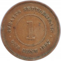 reverse of 1 Cent - Victoria (1887 - 1901) coin with KM# 16 from Straits Settlements. Inscription: STRAITS SETTLEMENTS 1 · ONE CENT 1889 ·