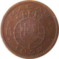 obverse of 10 Avos (1952) coin with KM# 2 from Macau. Inscription: * MACAU * * 1952 *