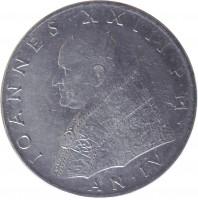 obverse of 100 Lire - John XXIII (1959 - 1962) coin with KM# 64 from Vatican City. Inscription: IOANNES · XXIII · P · M · AN · IV