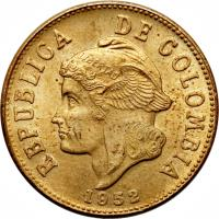 obverse of 2 Centavos - Head left; Divided legend (1952 - 1965) coin with KM# 211 from Colombia. Inscription: REPUBLICA DE COLOMBIA 1965
