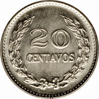 reverse of 20 Centavos - Divided legend (1969 - 1970) coin with KM# 237 from Colombia. Inscription: 20 CENTAVOS