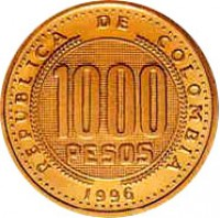reverse of 1000 Pesos (1996 - 1998) coin with KM# 288 from Colombia. Inscription: REPUBLICA DE COLOMBIA 1000 PESOS 1996
