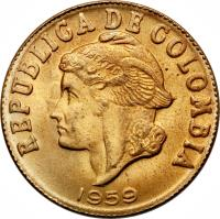 obverse of 2 Centavos - Head left; Continuous legend (1955 - 1959) coin with KM# 214 from Colombia. Inscription: REPUBLICA DE COLOMBIA 1959
