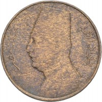 obverse of 1 Millième - Fuad I (1929 - 1935) coin with KM# 344 from Egypt. Inscription: فؤاد الأول ملك مصر