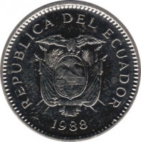 obverse of 50 Centavos (1988) coin with KM# 90 from Ecuador. Inscription: REPUBLICA DEL ECUADOR 1988
