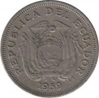 obverse of 1 Sucre (1959) coin with KM# 78a from Ecuador. Inscription: REPUBLICA DEL ECUADOR 1959