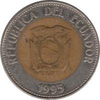 obverse of 100 Sucres - 200th anniversary of Antonio José de Sucre (1995) coin with KM# 96 from Ecuador. Inscription: REPUBLICA DEL ECUADOR 1995