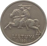 obverse of 2 Litai (1991) coin with KM# 92 from Lithuania. Inscription: LIETUVA 1991