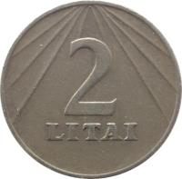 reverse of 2 Litai (1991) coin with KM# 92 from Lithuania. Inscription: 2 LITAI
