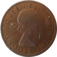 obverse of 1 Penny - Elizabeth II - 1'st Portrait (1953 - 1965) coin with KM# 24 from New Zealand. Inscription: + QUEEN · ELIZABETH · THE · SECOND