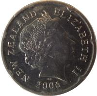 obverse of 20 Cents - Elizabeth II - 4'th Portrait (2006 - 2014) coin with KM# 118a from New Zealand. Inscription: NEW ZEALAND ELIZABETH II 2006 IRB