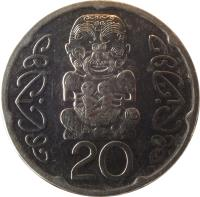 reverse of 20 Cents - Elizabeth II - 4'th Portrait (2006 - 2014) coin with KM# 118a from New Zealand. Inscription: 20