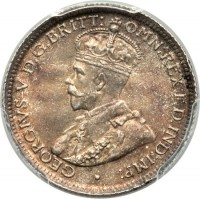 obverse of 6 Pence - George V (1911 - 1936) coin with KM# 25 from Australia. Inscription: GEORGIUS V D.G.BR:OMN:REX F.D.IND:IMP: