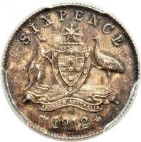 reverse of 6 Pence - George V (1911 - 1936) coin with KM# 25 from Australia. Inscription: SIXPENCE ADVANCE AUSTRAILA 1912