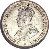 obverse of 3 Pence - George V (1911 - 1936) coin with KM# 24 from Australia. Inscription: GEORGIVS V D.G.BRITT: OMN:REX F.D.IND:IMP: ·