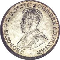 obverse of 3 Pence - George V (1911 - 1936) coin with KM# 24 from Australia. Inscription: GEORGIVS V D.G.BRITT: OMN:REX F.D.IND:IMP: ·