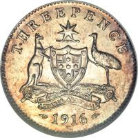 reverse of 3 Pence - George V (1911 - 1936) coin with KM# 24 from Australia. Inscription: THREEPENCE ADVANCE AUSTRALIA 1916 M