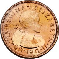 obverse of 1/2 Penny - Elizabeth II - Without F:D:; 1'st Portrait (1953 - 1955) coin with KM# 49 from Australia. Inscription: + ELIZABETH · II · DEI · GRATIA · REGINA