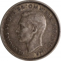 obverse of 6 Pence - George VI (1938 - 1945) coin with KM# 38 from Australia. Inscription: GEORGIVS VI D:G:BR:OMN:REX F:D:IND:IMP. HP