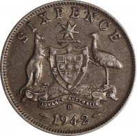 reverse of 6 Pence - George VI (1938 - 1945) coin with KM# 38 from Australia. Inscription: SIXPENCE ADVANCE AUSTRALIA S 1942