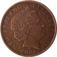 obverse of 10 Cents - Elizabeth II - 4'th Portrait (2006 - 2014) coin with KM# 117a from New Zealand. Inscription: NEW ZEALAND ELIZABETH II 2006