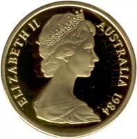 obverse of 1 Dollar - Elizabeth II - 2'nd Portrait (1984) coin with KM# 77 from Australia. Inscription: ELIZABETH II AUSTRALIA 1984