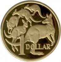 reverse of 1 Dollar - Elizabeth II - 2'nd Portrait (1984) coin with KM# 77 from Australia. Inscription: 1 DOLLAR