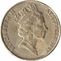 obverse of 1 Dollar - Elizabeth II - Sir Charles Kingsford Smith - 3'rd Portrait (1997) coin with KM# 327 from Australia. Inscription: ELIZABETH II AUSTRALIA 1997 RDM