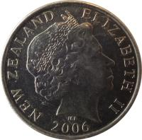 obverse of 50 Cents - Elizabeth II - 4'th Portrait (1999 - 2006) coin with KM# 119 from New Zealand. Inscription: NEW ZEALAND ELIZABETH II 2006