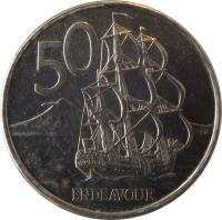 reverse of 50 Cents - Elizabeth II - 4'th Portrait (1999 - 2006) coin with KM# 119 from New Zealand. Inscription: 50 ENDEAVOUR