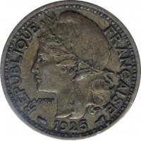 obverse of 1 Franc (1924 - 1926) coin with KM# 2 from Cameroon. Inscription: RÉPUBLIQUE FRANÇAISE A.PATEY 1925