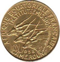 obverse of 5 Francs (1958) coin with KM# 10 from Cameroon. Inscription: AFRIQUE EQUATORIALE FRANCAISE INSTITUT D'EMISSION 1958 CAMEROUN
